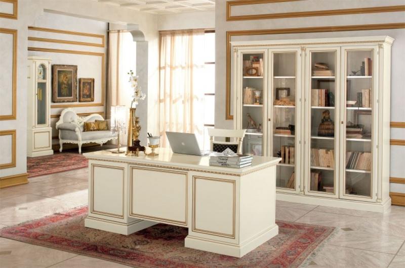 Кабинет Лунный свет в белом классическом стиле со шкафом и столом