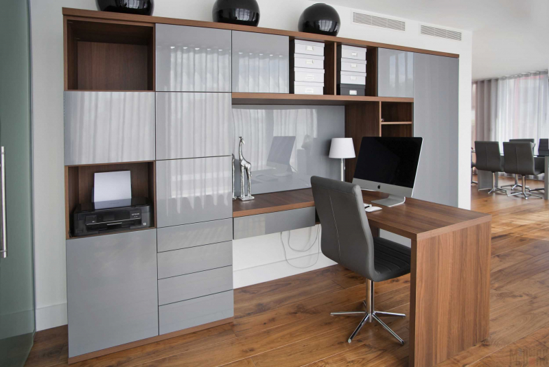 Купить Кабинет Лаудия в стиле модерн коричнево-серого цвета  под заказ