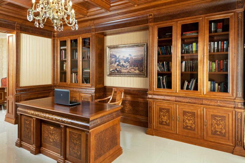 Купить Кабинет Нортон угловой с двух сегментов со столом по центру белого цвета под заказ