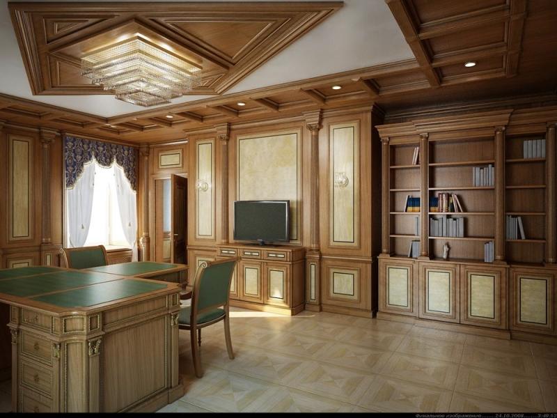 Кабинет Гремлен в коричневом цвете из дерева в комплекте с двумя высокими шкафами на пять полок