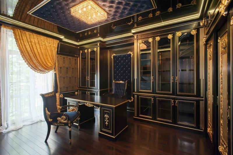 Кабинет Лидер встроенный роскошный в черно-золотом цвете со стеклом