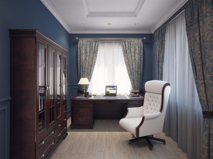 Купить Кабинет Дуплекс в классическом сдержанном стиле коричневого цвета в комплекте с двумя столами и длинным шкафом  под заказ
