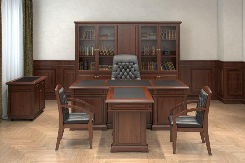 Кабинет Кулху в стиле модерн со шкафом серых тонов и столом из массива коричневого цвета