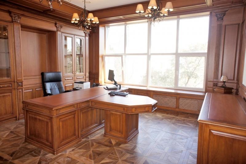 Кабинет Андриан стильный современный в черном стиле в комплекте из двух шкафов и отдельным столом