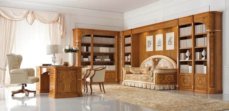 Кабинет Гамма встроенный в классическом стиле из массива дерева