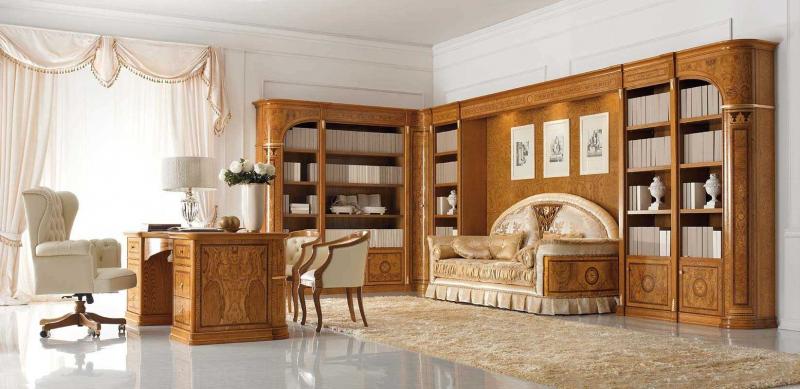 Купить Кабинет Гамма встроенный в классическом стиле из массива дерева  под заказ