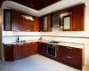 Кухня Арлекино угловая красного цвета с прямыми углами