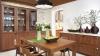 Кухня Юмелия прямого типа с подвесными шкафами коричневого цвет и с островом