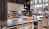 Кухня Импрезо коричневого цвета с современной фурнитурой на три отдельные секции