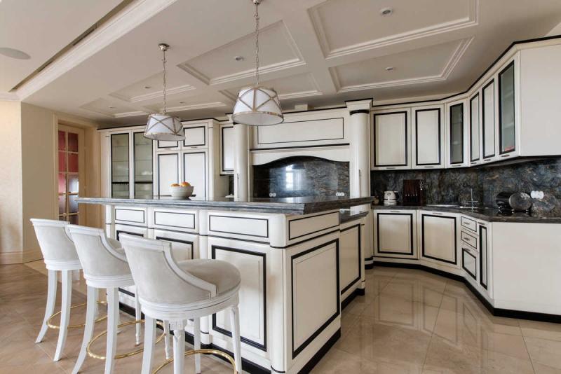 Купить Кухня Адель молочно-коричневого цвета с плавными изгибами фасада под заказ