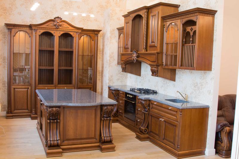 Купить Кухня Миника угловая зеленого цвета в современном стиле со шкафами до потолка под заказ