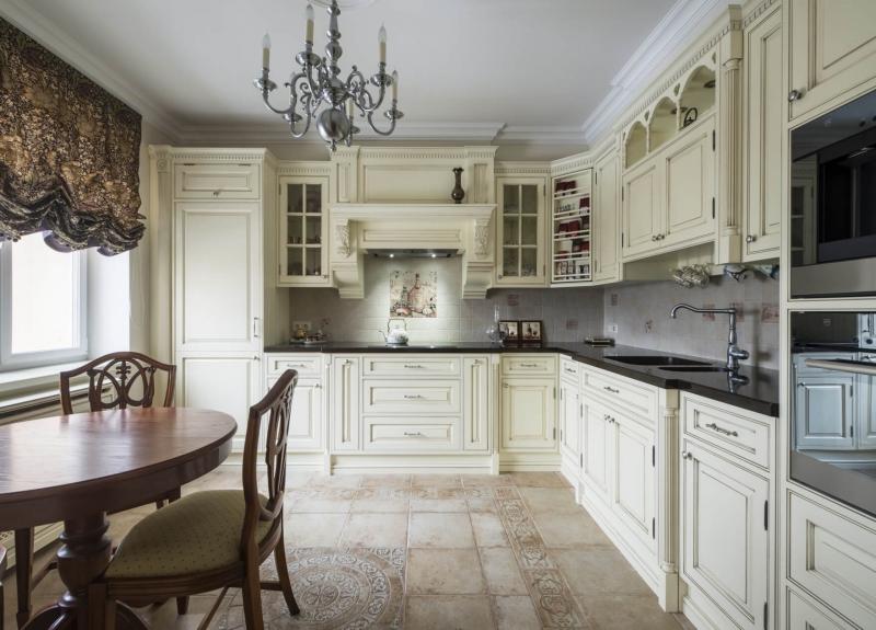 Кухня Панчо угловая коричневого цвета со встроенной техникой