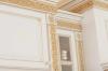 Кухня Филиппа из массива угловая коричневого цвета с подвесными шкафами со стеклом