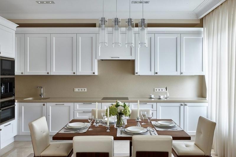 кухня лорена белая в стиле модерн углового типа с барной стойкой на
