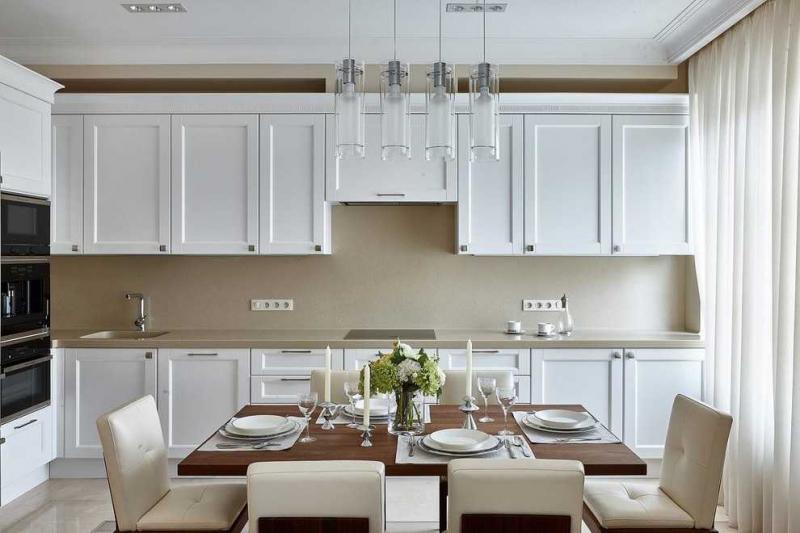 Купить Кухня Лорена белая в стиле модерн углового типа с барной стойкой  под заказ