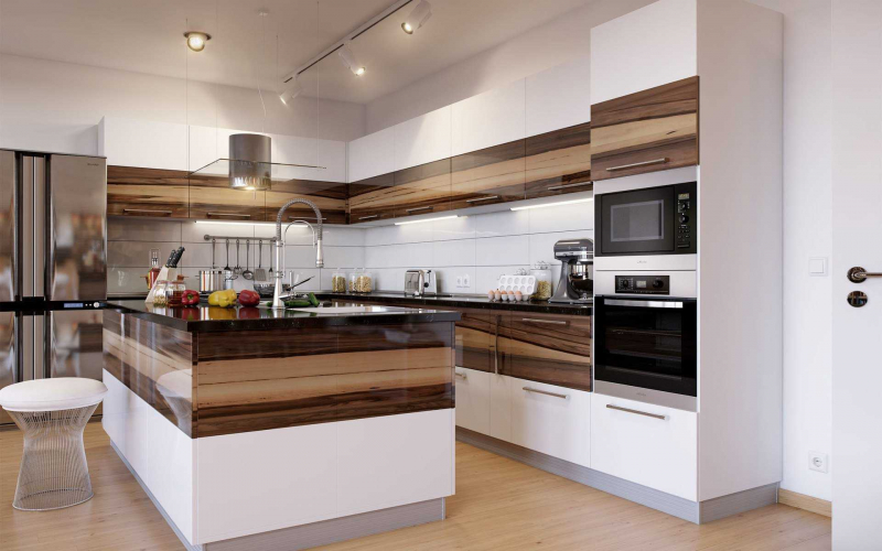 Купить Кухня Шакира угловая с островом белого цвета со встроенной техникой   под заказ
