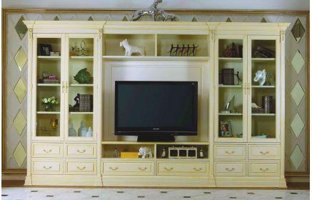 Купить Стенка Лаврентия под ТВ 4 стеклянные двери 4 полки 10 ящиков белый с золотом цвет под заказ