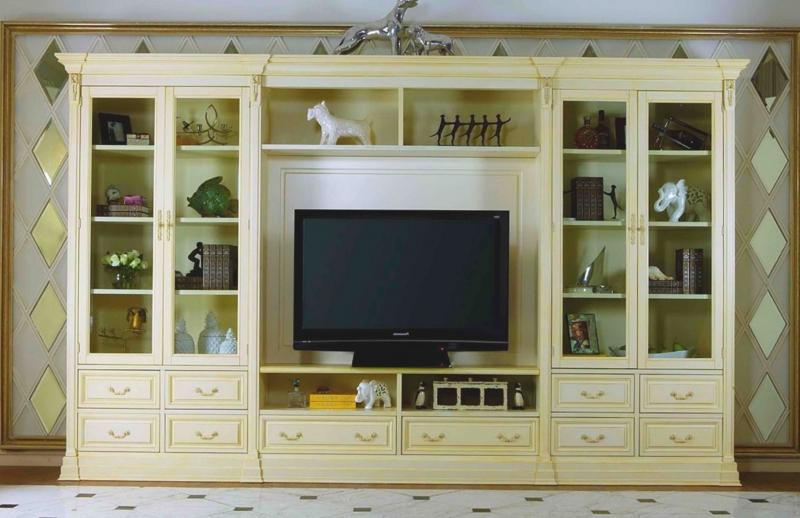 Стенка Лаврентия под ТВ 4 стеклянные двери 4 полки 10 ящиков белый с золотом цвет