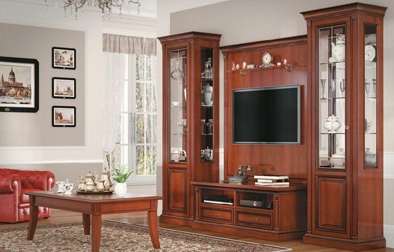"""Стенка Лориан под ТВ 2 шкафа со стеклом 1 комод с ящиками и полками дерево цвета """"орех"""""""