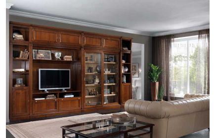 Купить Стенка Нарбон под ТВ 8 дверей из дерева 2 двери со стеклом 11 полок желто-коричневое дерево под заказ