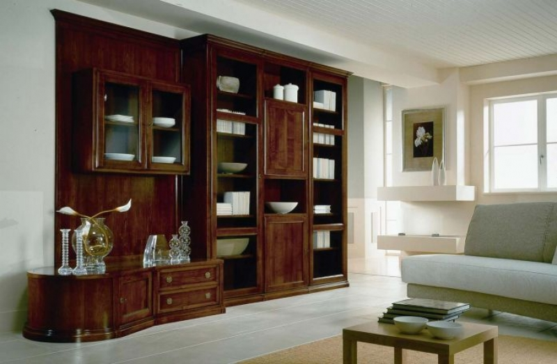 "Стенка Плугану 1 подвесной шкаф со стеклом 3 двери 2 ящика 12 полок 2 двери со стеклом дерево цвета ""махагон"""