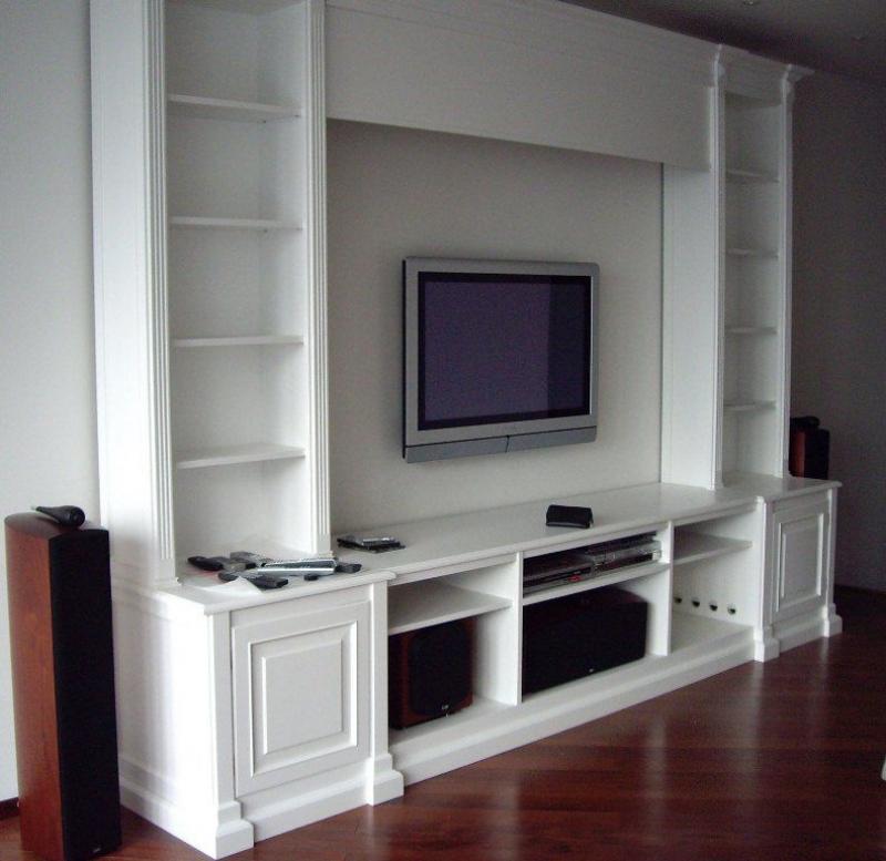 Стенка Силуэт под ТВ и технику 17 открытых полок 2 двери белый цвет