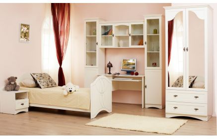 Купить Детская Бьянка в простом белом цвете с кроватью и рабочим столом и отдельными шкафчиками  под заказ