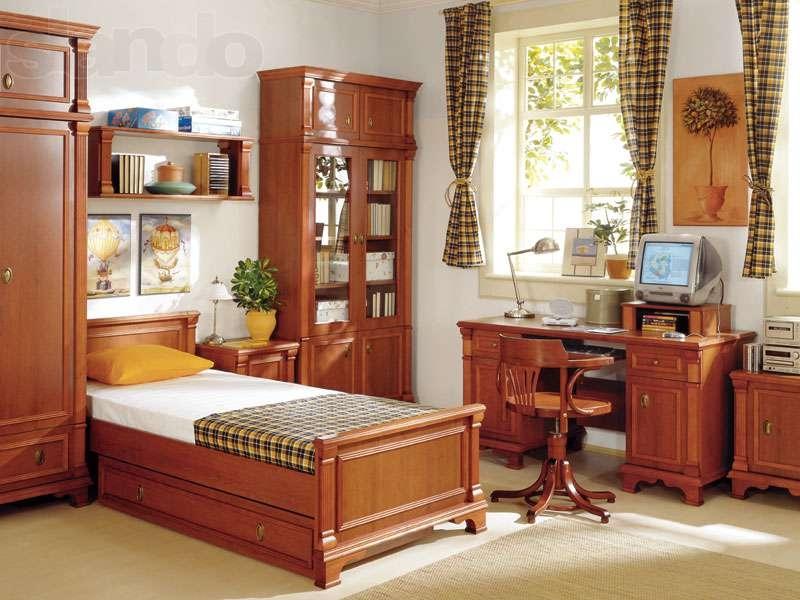 Детская Друид в классическом стиле коричневого цвета два шкафа со столом и кроватью