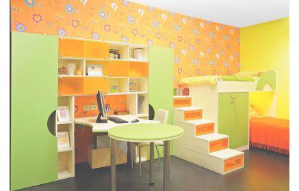 Купить Детская Флави в современном стиле со встроенными выдвижными ящиками в ступени ведущие к кровати на втором ярусе  под заказ
