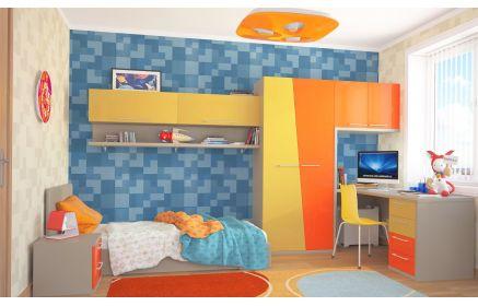 Купить Детская Камилла в стиле модерн с разными оттенками желтого в комплекте с кроватью    под заказ
