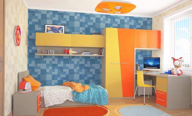 Детская Камилла в стиле модерн с разными оттенками желтого в комплекте с кроватью