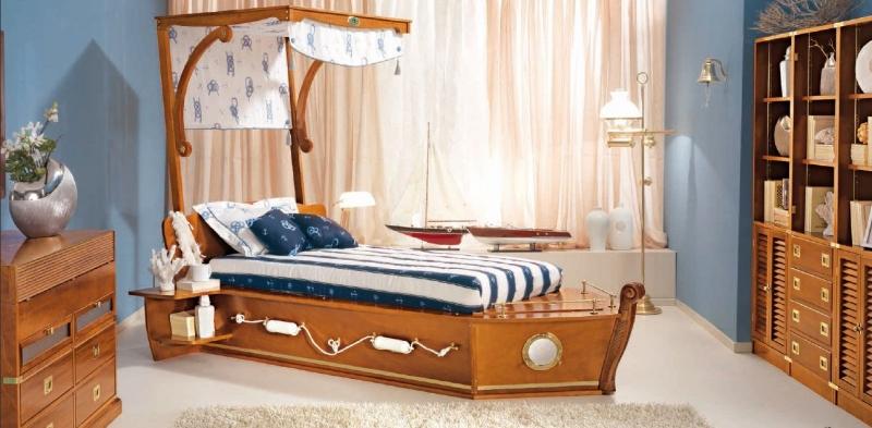 Детская Круиз коричневого цвета с кроватью в стиле лодки
