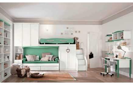 Купить Детская Леденец в белом-зеленом цвете на два спальных места с множеством предметов под заказ