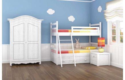 Купить Детская Летний сон в белом цвете с прикроватной тумбочкой и двухэтажной кроватью  под заказ