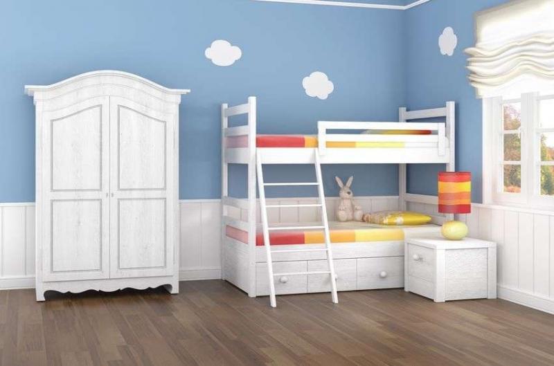 Детская Летний сон в белом цвете с прикроватной тумбочкой и двухэтажной кроватью