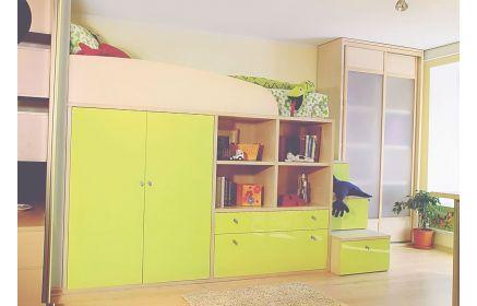 Купить Детская Луи в комплексе с кроватью и шкафом с выдвижными ящиками и открытыми полками  под заказ