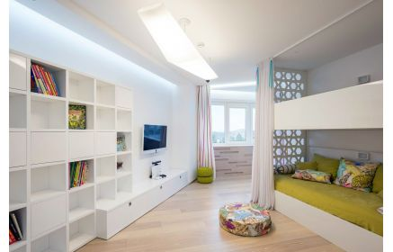 Купить Детская Пастила в белом современном стиле с двухэтажной кроватью  под заказ