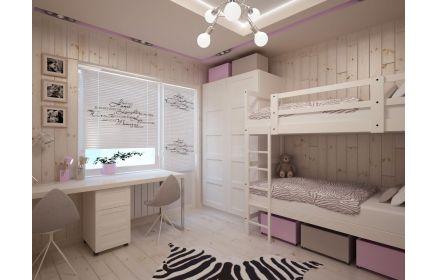 Купить Детская Сестренки для двух принцесс в комплекте двухъярусная кровать и большой вместительный шкаф под заказ