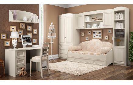 Купить Детская Симорон в привлекательном стиле прованс белого цвета в комплекте с диваном и рабочим столом  под заказ