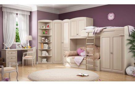 Купить Детская Сливочный десерт из массива углового расположения в комплекте с двухъярусной кроватью и шкафом  под заказ