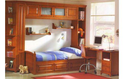 Купить Детская Сократ в классическом коричневом стиле со встроенной кроватью в шкаф  под заказ