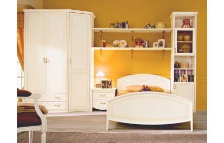 Купить Детская Тайлер в стиле прованс белого цвета в комплекте с кроватью и высоким шкафом   под заказ