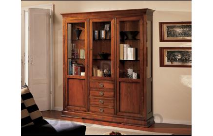 Купить Шкаф-витрина Жюстина 3 двери со стеклом 6 стеклянных полок 4 ящика 2 двери желто-коричневое дерево под заказ