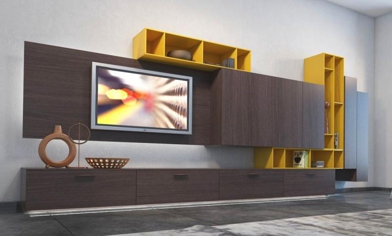 Гостиная Акселл двухцветная в стиле модерн с нишей для телевизора и нижним расположением тумбочек