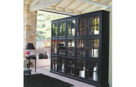 Купить Гостиная Феликс в чёрном цвете из одинаковых модулей с фурнитурой бронзовых оттенков   под заказ