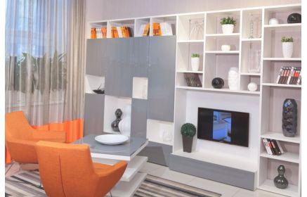 Купить Гостиная Готье стильная и современная в двух цветах с нишей под телевизор и множеством открытых ниш для предметов  под заказ