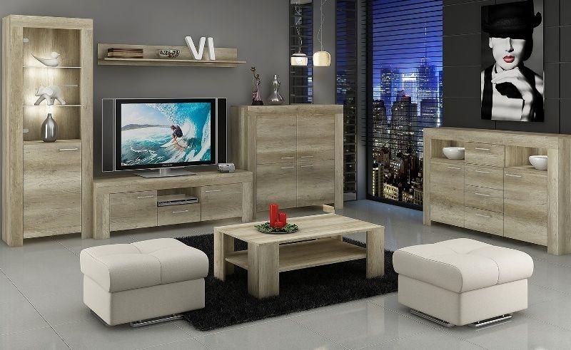 Гостиная Женвилье в современном стиле серого цвета с местом для телевизора