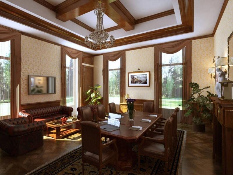 Гостиная Плетение в изящном классическом стиле коричневого цвета