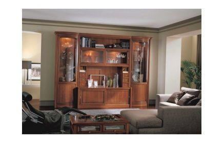 Купить Гостиная Рауль из нескольких модулей из дерева со стеклянными вставками в виде небольших шкафов  под заказ