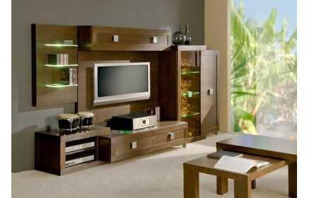 Купить Гостиная Релакс современная коричневого цвета со стеклянными полками и местом для телевизора под заказ